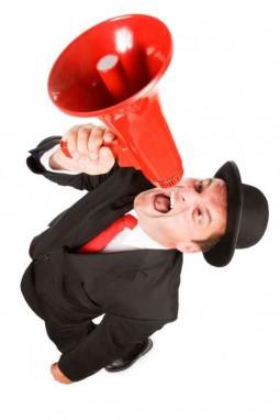 man on megaphone